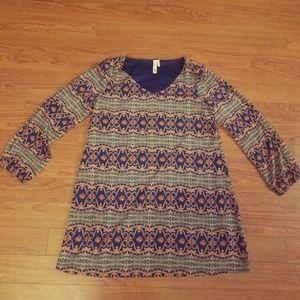 Pink Owl Open Sleeve Geometric Print Dress Tunic
